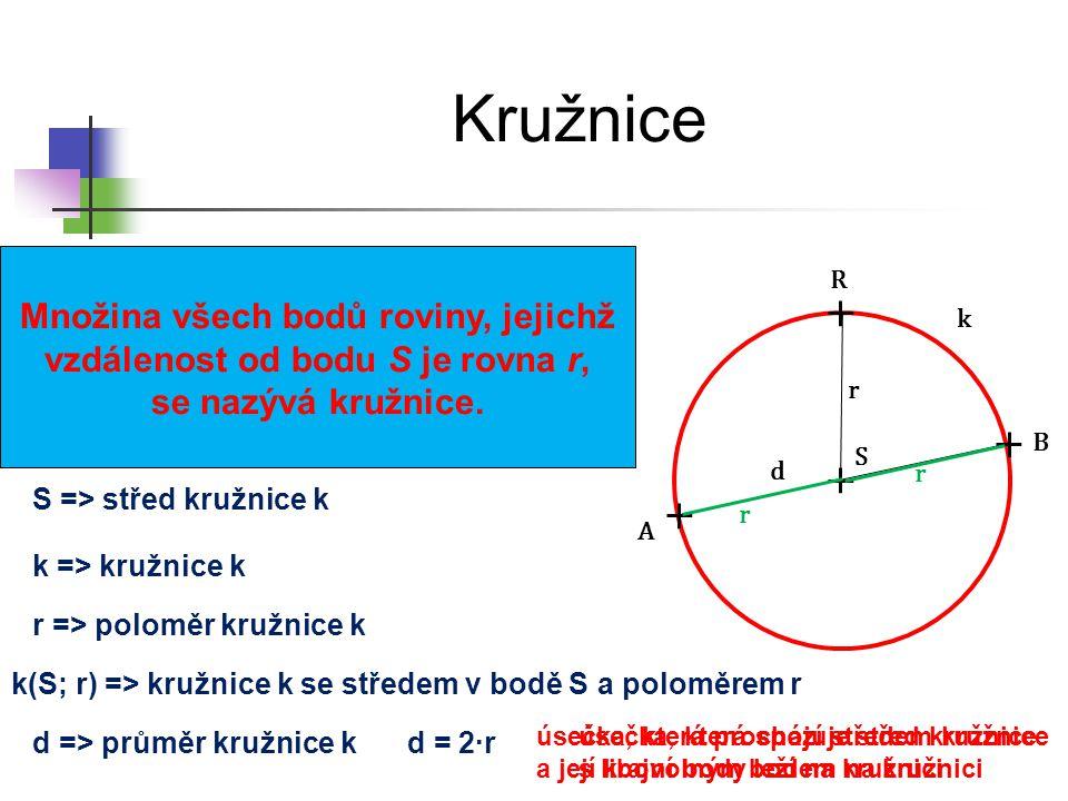 Kružnice r d S A B R Množina všech bodů roviny, jejichž vzdálenost od bodu S je rovna r, se nazývá kružnice. k(S; r) => kružnice k se středem v bodě S