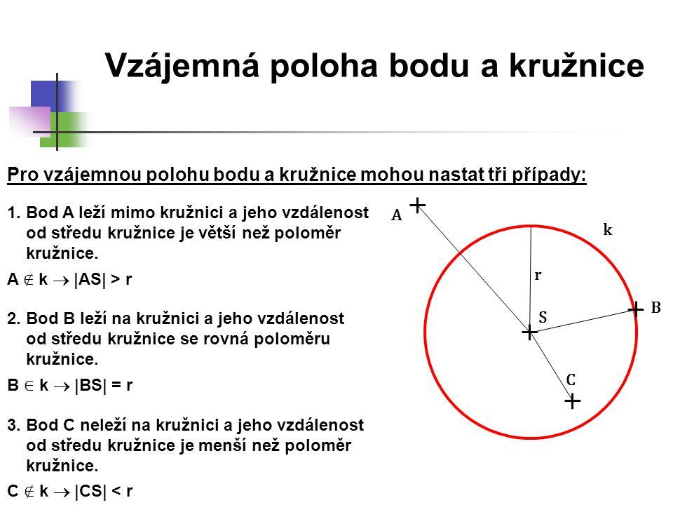Vzájemná poloha bodu a kruhu r S A B C K Pro vzájemnou polohu bodu a kruhu mohou nastat tři případy: 1.Bod A leží mimo kruh a jeho vzdálenost od středu kruhu je větší než poloměr kruhu.