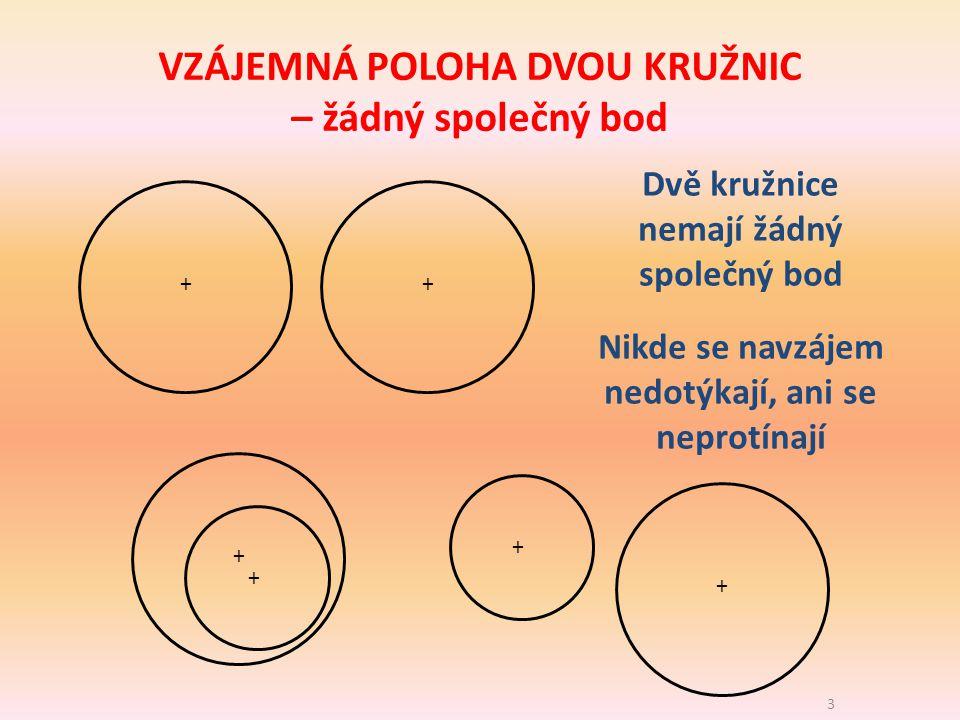 4 ++ + + + + Dvě kružnice mají 1 společný bod Navzájem se dotýkají v jednom jediném bodě VZÁJEMNÁ POLOHA DVOU KRUŽNIC – jeden společný bod