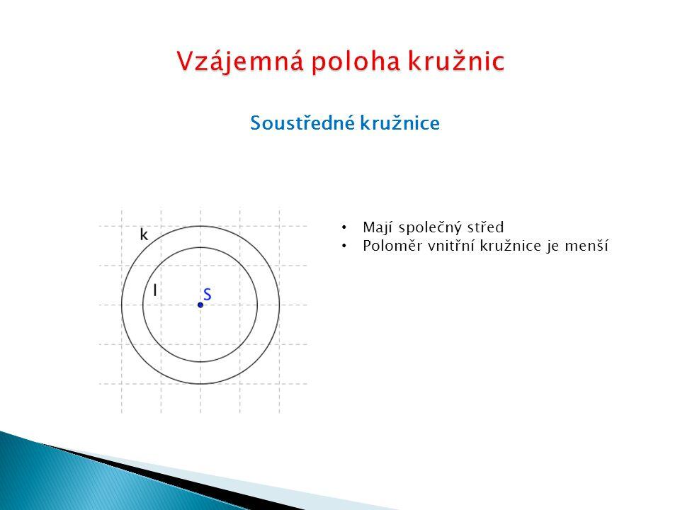Soustředné kružnice Jaký bude poloměr vnitřní kružnice trávníku, když vnější kružnice má poloměr 7m a cestička je široká 50 cm.