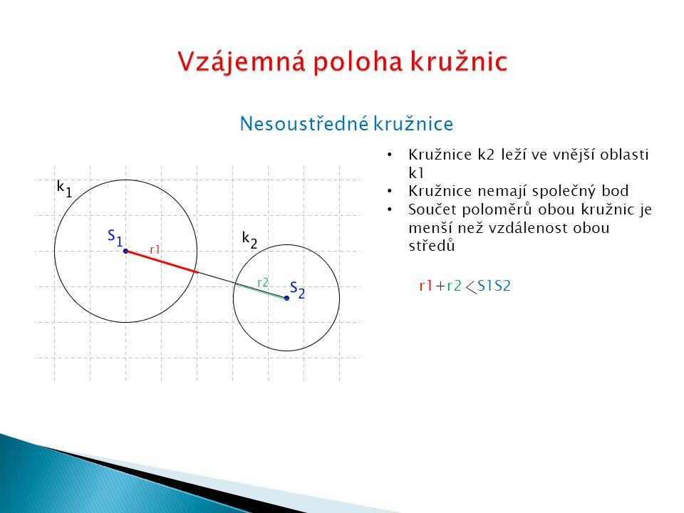 Nesoustředné kružnice Kružnice k2 leží ve vnější oblasti k1 Kružnice mají jeden společný bod Součet poloměrů obou kružnic je roven velikosti úsečky S1S2 r1r2 r1+r2=S1S2