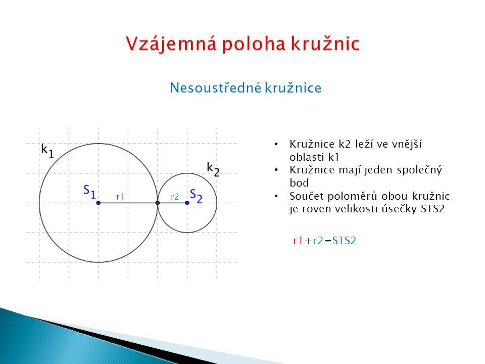 Nesoustředné kružnice Kružnice se protínají ve dvou bodech Součet obou poloměrů je větší než vzdálenost obou středů r1 r2 r1+r2 S1S2 r1 S1S2