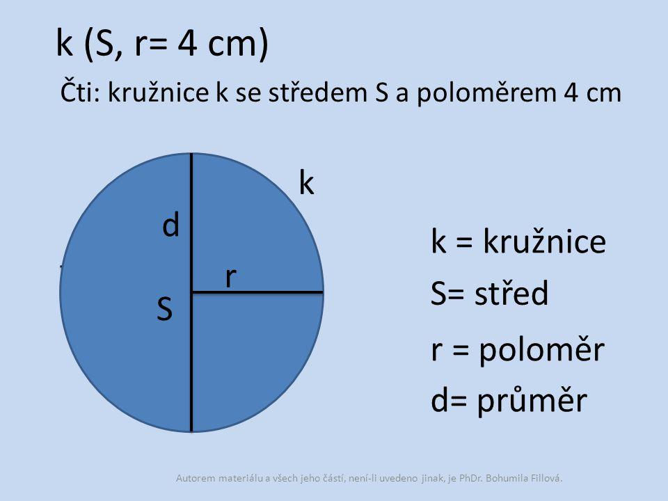 k (S, r= 4 cm) k = kružnice S= střed r = poloměr d= průměr Čti: kružnice k se středem S a poloměrem 4 cm k S r d Autorem materiálu a všech jeho částí,