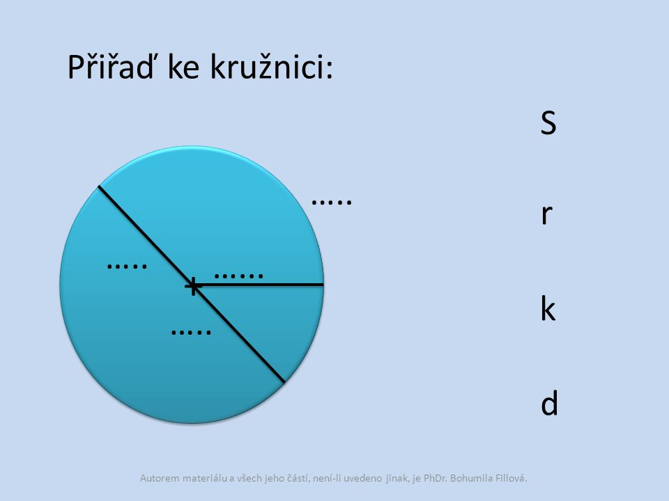 Přiřaď ke kružnici: + ….. …... S r k d Autorem materiálu a všech jeho částí, není-li uvedeno jinak, je PhDr. Bohumila Fillová.