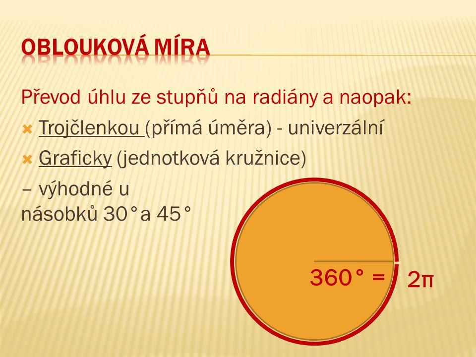 Převod úhlu ze stupňů na radiány a naopak:  Trojčlenkou (přímá úměra) - univerzální  Graficky (jednotková kružnice) – výhodné u násobků 30°a 45° 2π2