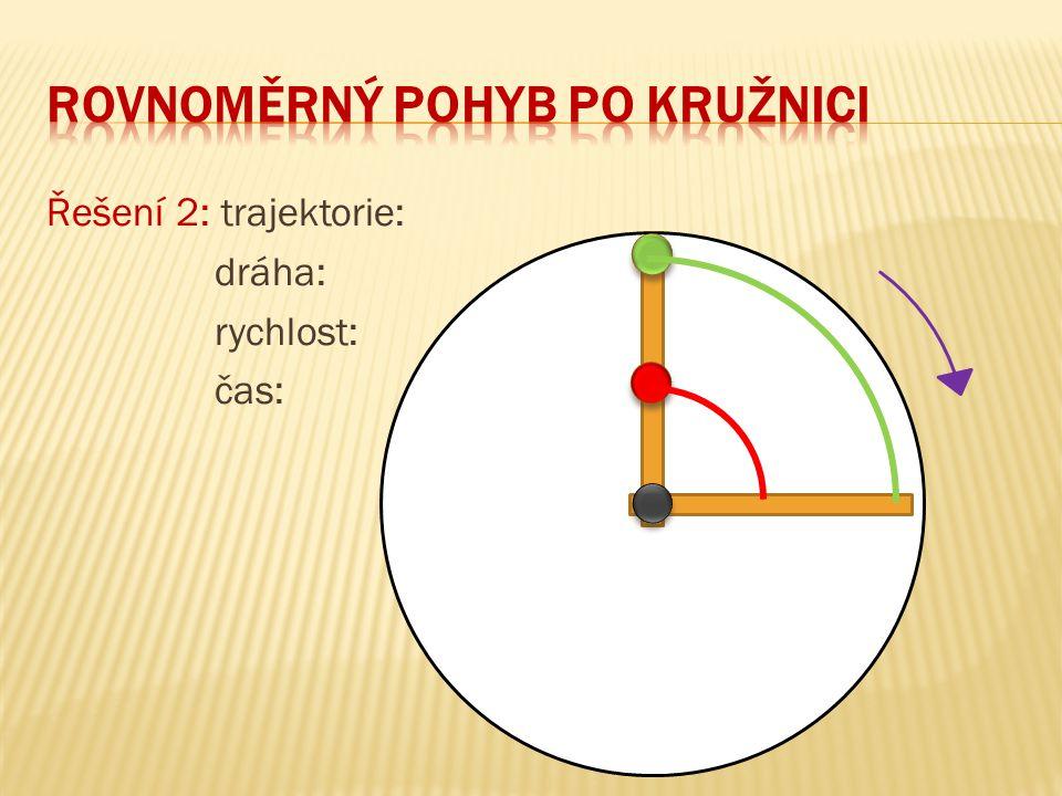 Řešení 2: trajektorie: dráha: rychlost: čas: