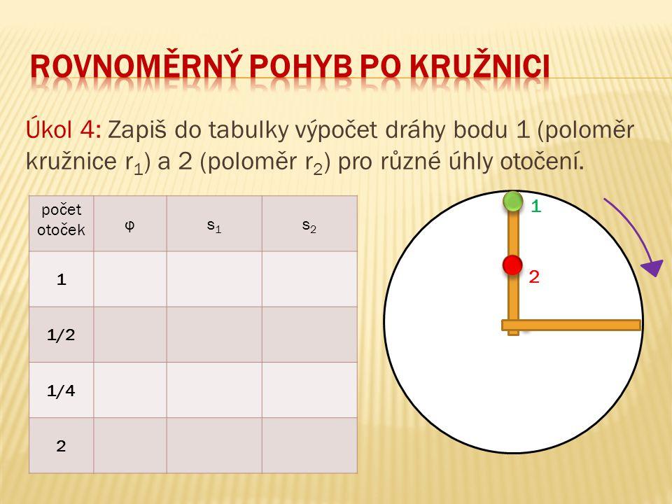 Úkol 4: Zapiš do tabulky výpočet dráhy bodu 1 (poloměr kružnice r 1 ) a 2 (poloměr r 2 ) pro různé úhly otočení. 1 2 počet otoček φs1s1 s2s2 1 1/2 1/4