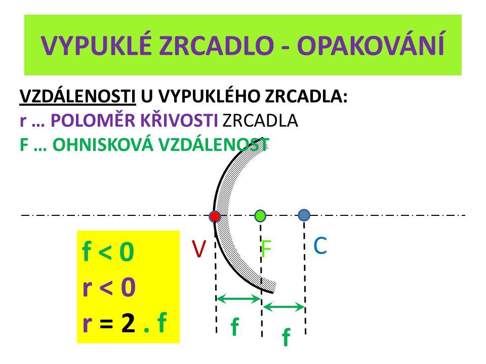 VYPUKLÉ ZRCADLO - OPAKOVÁNÍ V C F VZDÁLENOSTI U VYPUKLÉHO ZRCADLA: r … POLOMĚR KŘIVOSTI ZRCADLA F … OHNISKOVÁ VZDÁLENOST f f f < 0 r < 0 r = 2.