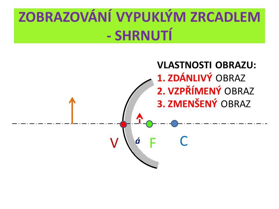 ZOBRAZOVÁNÍ VYPUKLÝM ZRCADLEM - SHRNUTÍ V C F á VLASTNOSTI OBRAZU: 1.