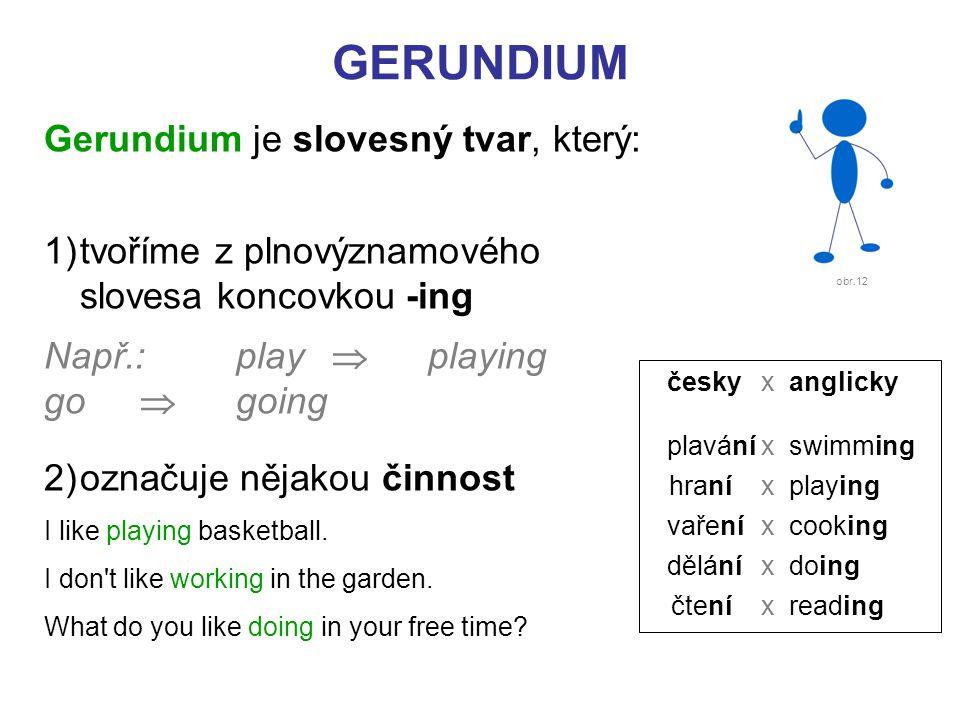 Gerundium je slovesný tvar, který: 1)tvoříme z plnovýznamového slovesa koncovkou -ing Např.: play  playing go  going 2)označuje nějakou činnost I like playing basketball.