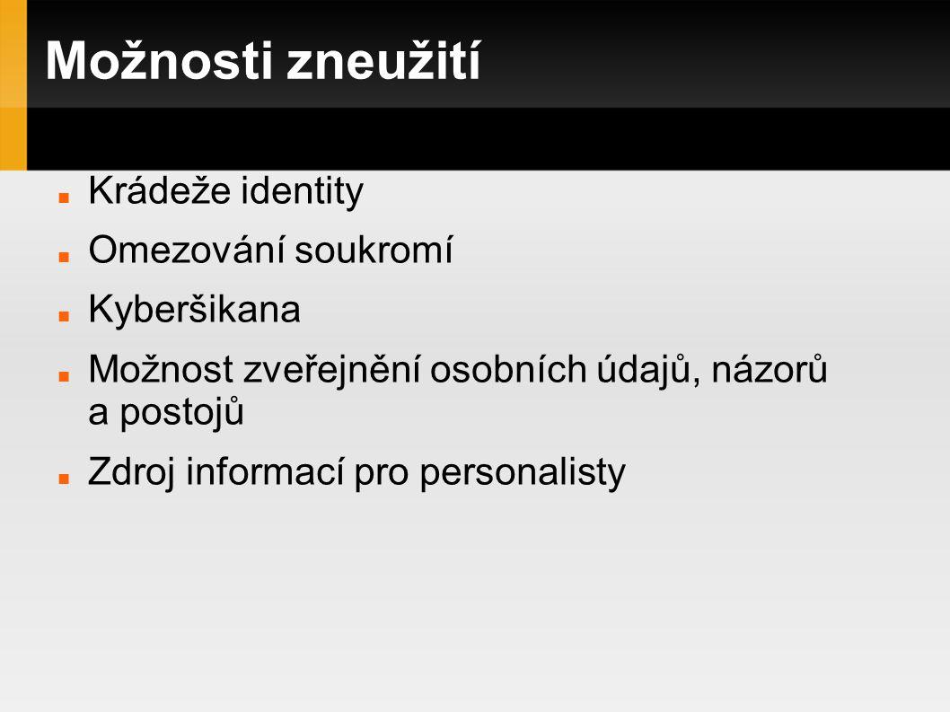 Možnosti zneužití Krádeže identity Omezování soukromí Kyberšikana Možnost zveřejnění osobních údajů, názorů a postojů Zdroj informací pro personalisty