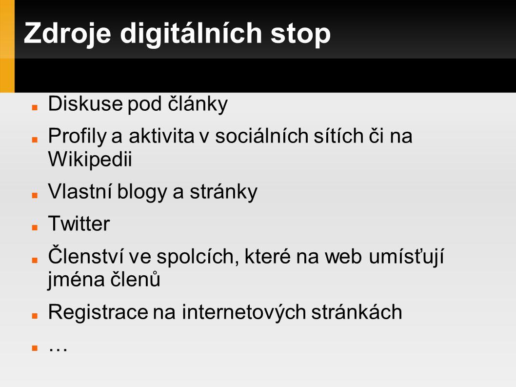 Zdroje digitálních stop Diskuse pod články Profily a aktivita v sociálních sítích či na Wikipedii Vlastní blogy a stránky Twitter Členství ve spolcích, které na web umísťují jména členů Registrace na internetových stránkách …