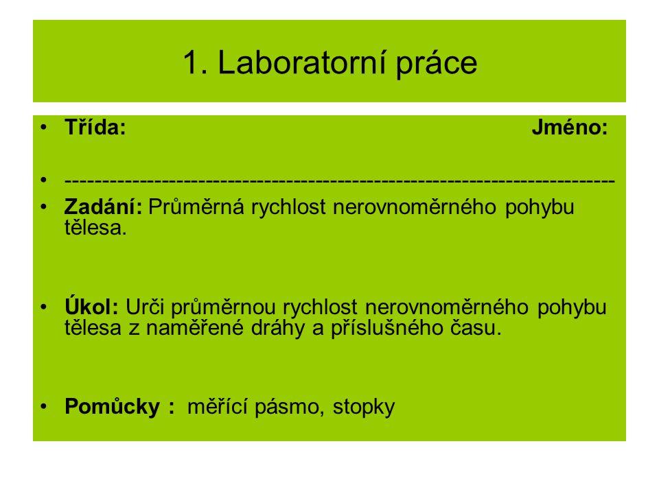1. Laboratorní práce Třída: Jméno: --------------------------------------------------------------------------- Zadání: Průměrná rychlost nerovnoměrnéh