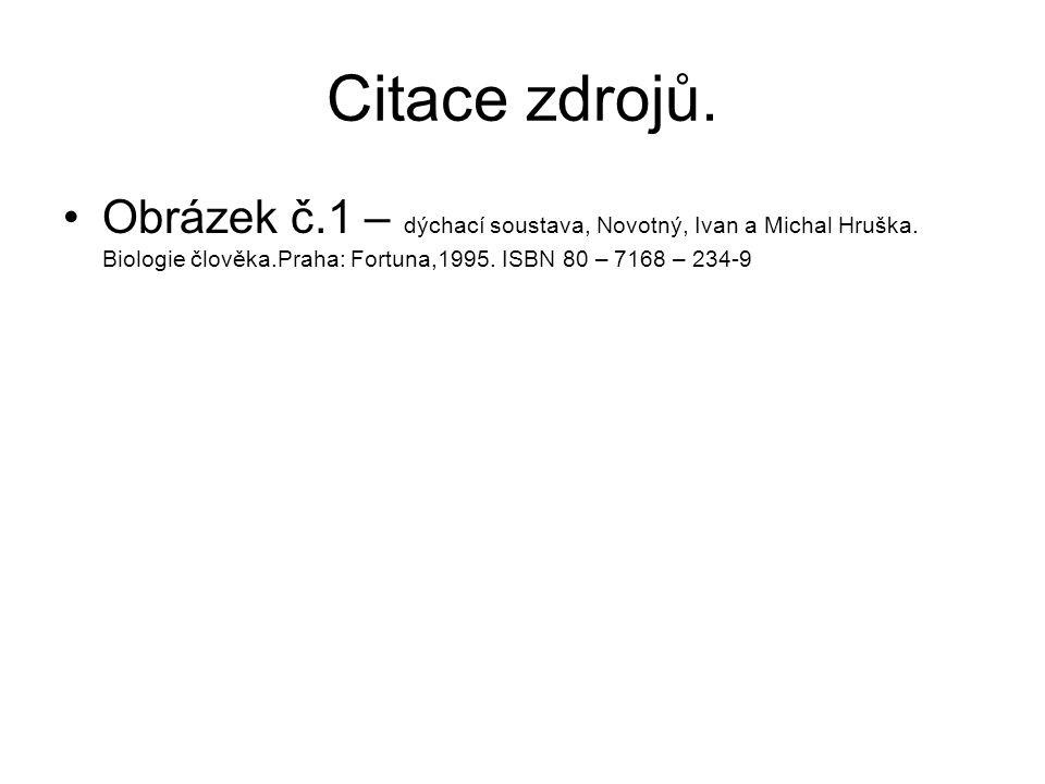 Citace zdrojů. Obrázek č.1 – dýchací soustava, Novotný, Ivan a Michal Hruška. Biologie člověka.Praha: Fortuna,1995. ISBN 80 – 7168 – 234-9