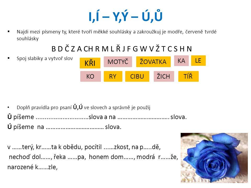 I,Í – Y,Ý – Ú,Ů  Najdi mezi písmeny ty, které tvoří měkké souhlásky a zakroužkuj je modře, červeně tvrdé souhlásky B D Č Z A CH R M L Ř J F G W V Ž T