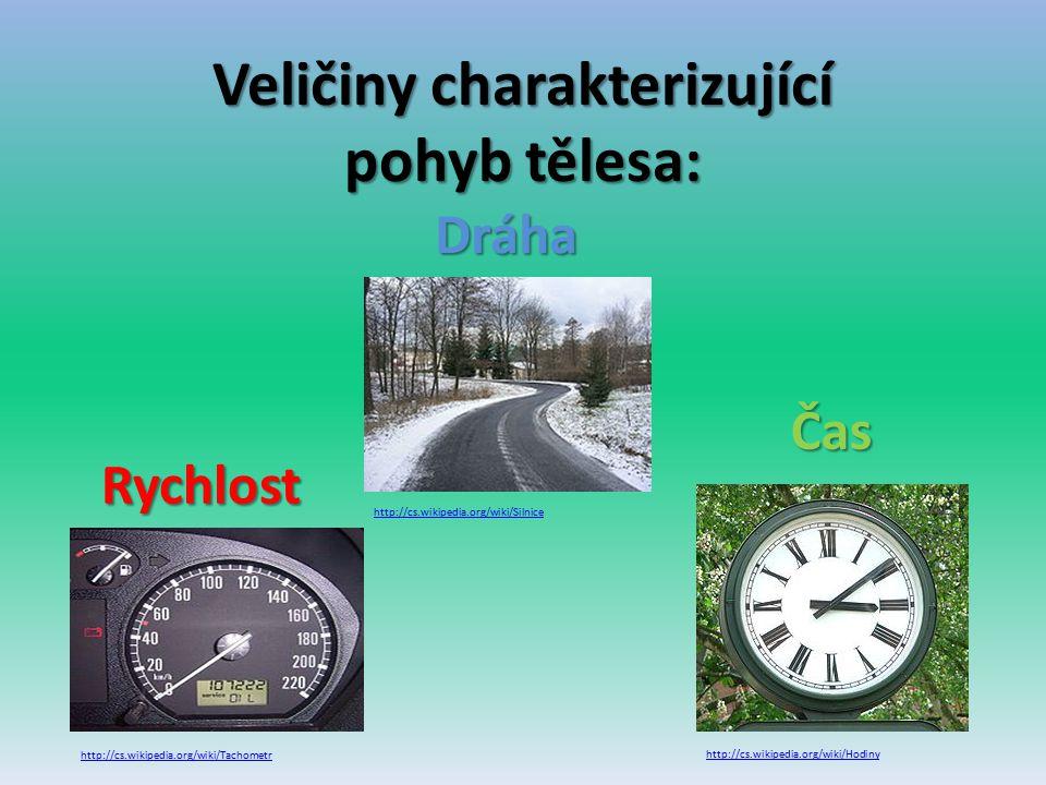 Veličiny charakterizující pohyb tělesa: http://cs.wikipedia.org/wiki/SilniceRychlost Dráha http://cs.wikipedia.org/wiki/Tachometr http://cs.wikipedia.