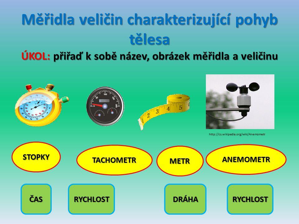 Měřidla veličin charakterizující pohyb tělesa ÚKOL: přiřaď k sobě název, obrázek měřidla a veličinu http://cs.wikipedia.org/wiki/Anemometr STOPKY TACH