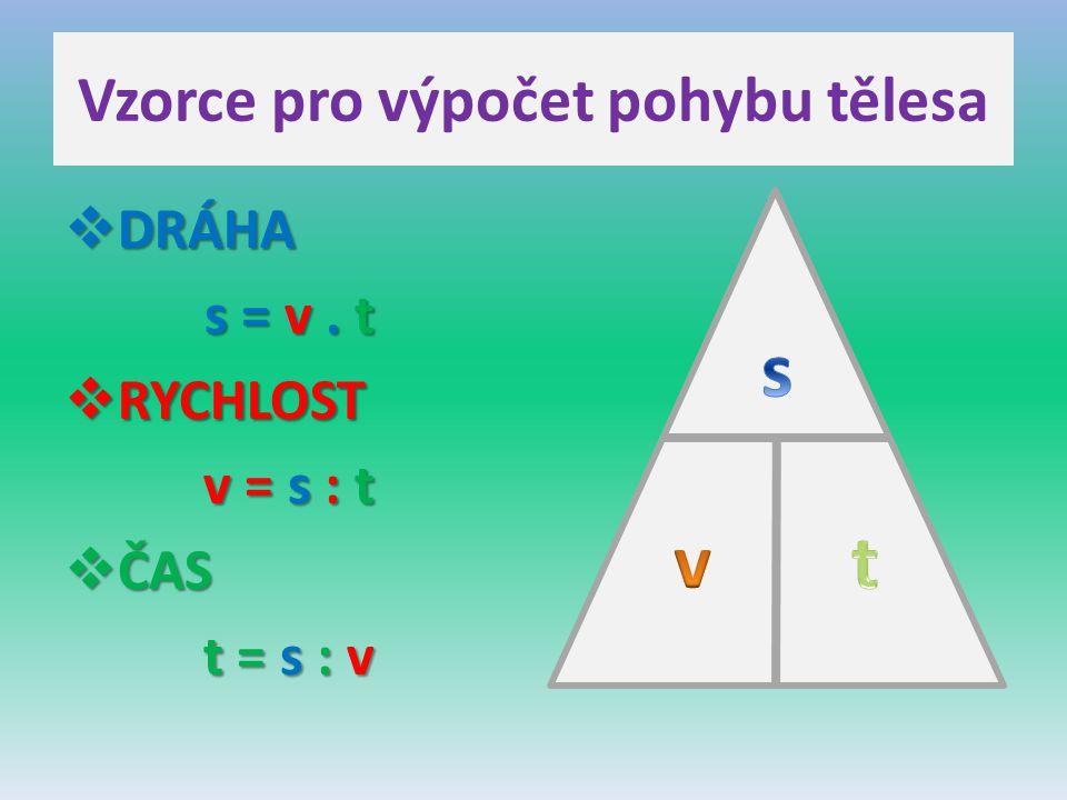 Vzorce pro výpočet pohybu tělesa  DRÁHA s = v. t  RYCHLOST v = s : t  ČAS t = s : v