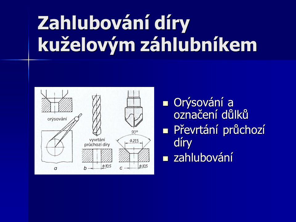 Zahlubování díry kuželovým záhlubníkem Orýsování a označení důlků Orýsování a označení důlků Převrtání průchozí díry Převrtání průchozí díry zahlubová