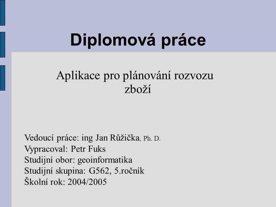 Diplomová práce Aplikace pro plánování rozvozu zboží Vedoucí práce: ing Jan Růžička, Ph. D. Vypracoval: Petr Fuks Studijní obor: geoinformatika Studij