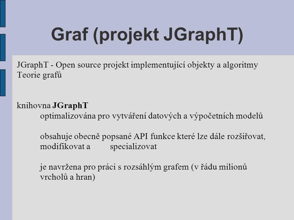 Graf (projekt JGraphT) JGraphT - Open source projekt implementující objekty a algoritmy Teorie grafů knihovna JGraphT optimalizována pro vytváření dat