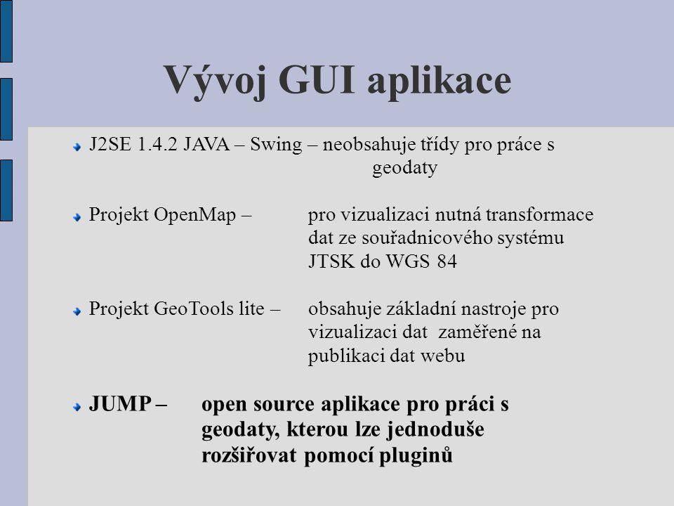Vývoj GUI aplikace J2SE 1.4.2 JAVA – Swing – neobsahuje třídy pro práce s geodaty Projekt OpenMap – pro vizualizaci nutná transformace dat ze souřadni