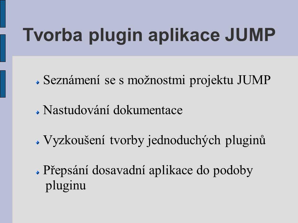 Tvorba plugin aplikace JUMP Seznámení se s možnostmi projektu JUMP Nastudování dokumentace Vyzkoušení tvorby jednoduchých pluginů Přepsání dosavadní a