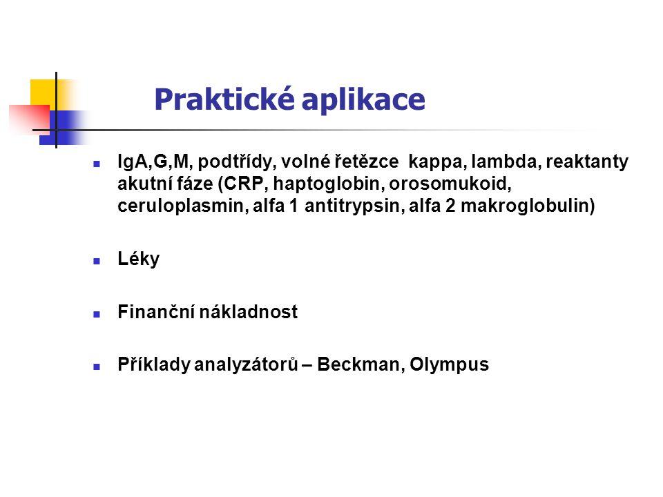 Praktické aplikace IgA,G,M, podtřídy, volné řetězce kappa, lambda, reaktanty akutní fáze (CRP, haptoglobin, orosomukoid, ceruloplasmin, alfa 1 antitry