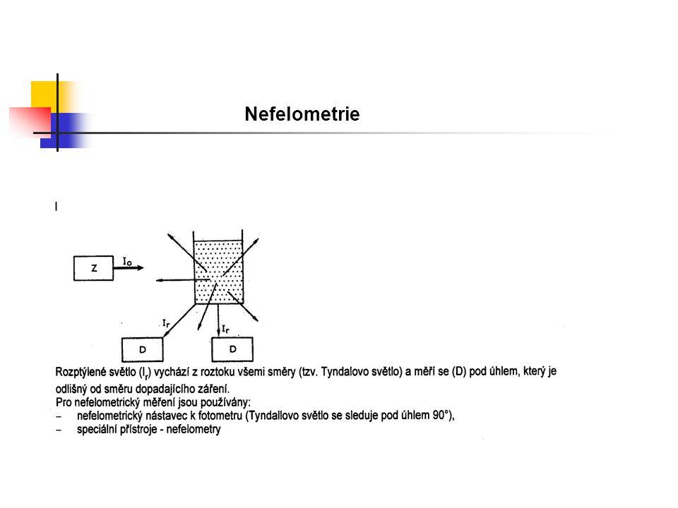 Turbidimetrie a nefelometrie Systém end point – po smíchání antigenu a protilátky proběhne měření po dosažení rovnovážného stavu, možnost falešně negativní (nízká) koncentrace antigenu Proto nastavení systému tak, aby měření probíhala v oblasti lineární části křivky Systém kinetický - reakce je rychlejší, měří se přírůstek vzniku precipitátu v pravidelných časových intervalech, po dosažení rovnovážného stavu (desítky vteřin) se měření ukončuje.
