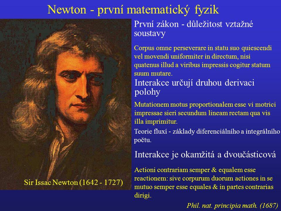 První zákon - důležitost vztažné soustavy Interakce je okamžitá a dvoučásticová Interakce určují druhou derivaci polohy Teorie fluxí - základy diferenciálního a integrálního počtu.