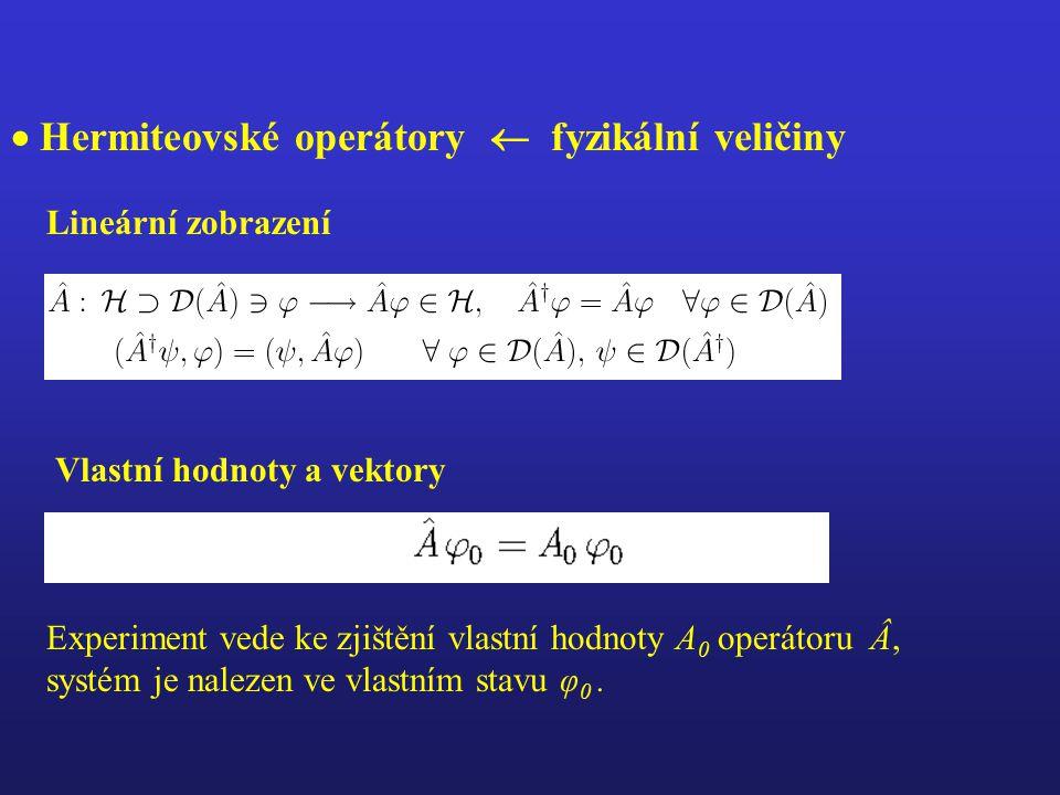  Hermiteovské operátory  fyzikální veličiny Lineární zobrazení Experiment vede ke zjištění vlastní hodnoty A 0 operátoru Â, systém je nalezen ve vlastním stavu φ 0.
