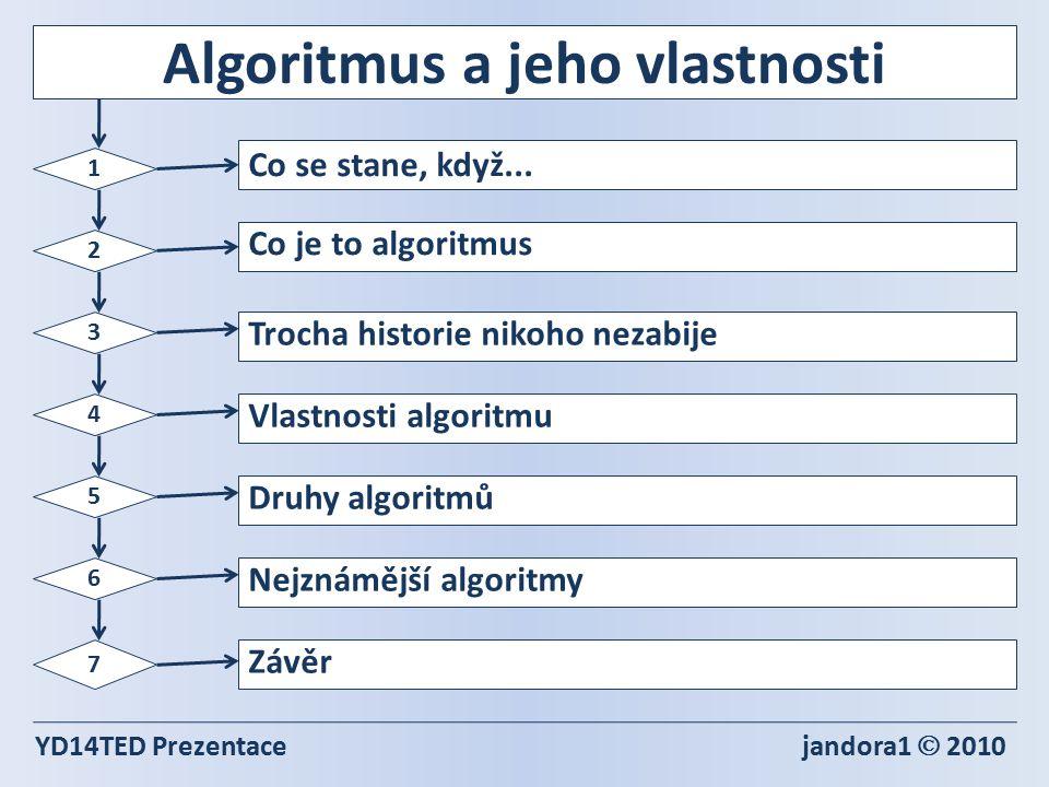Algoritmus a jeho vlastnosti YD14TED Prezentace jandora1  2010 1 2 3 4 5 6 7 Co se stane, když...