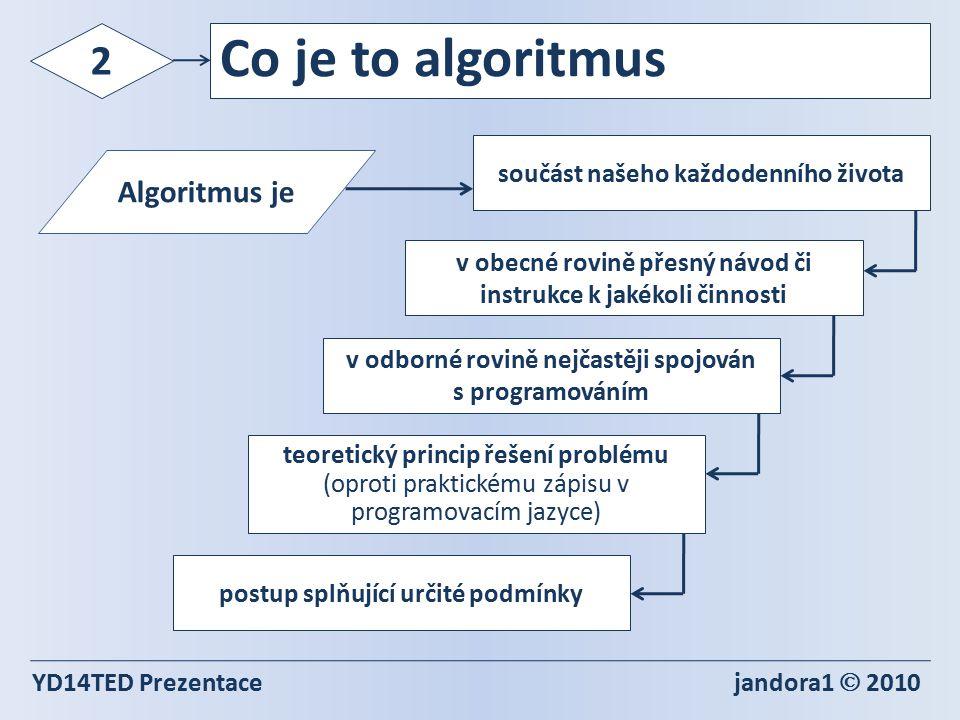 Algoritmus je YD14TED Prezentace jandora1  2010 2 Co je to algoritmus součást našeho každodenního života teoretický princip řešení problému (oproti praktickému zápisu v programovacím jazyce) v obecné rovině přesný návod či instrukce k jakékoli činnosti v odborné rovině nejčastěji spojován s programováním postup splňující určité podmínky