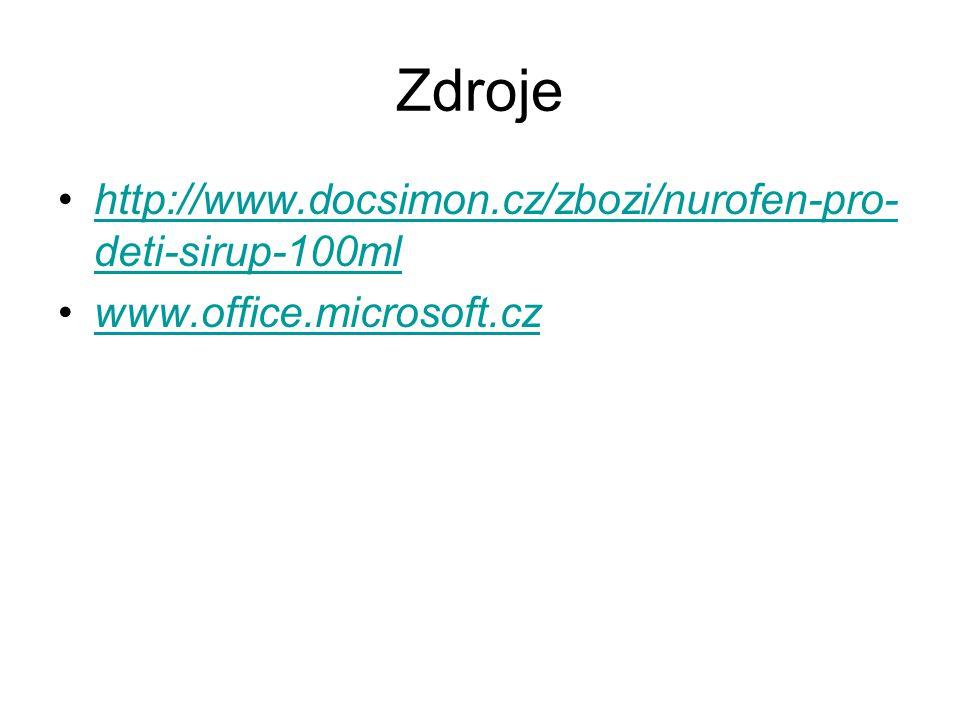 Zdroje http://www.docsimon.cz/zbozi/nurofen-pro- deti-sirup-100mlhttp://www.docsimon.cz/zbozi/nurofen-pro- deti-sirup-100ml www.office.microsoft.cz