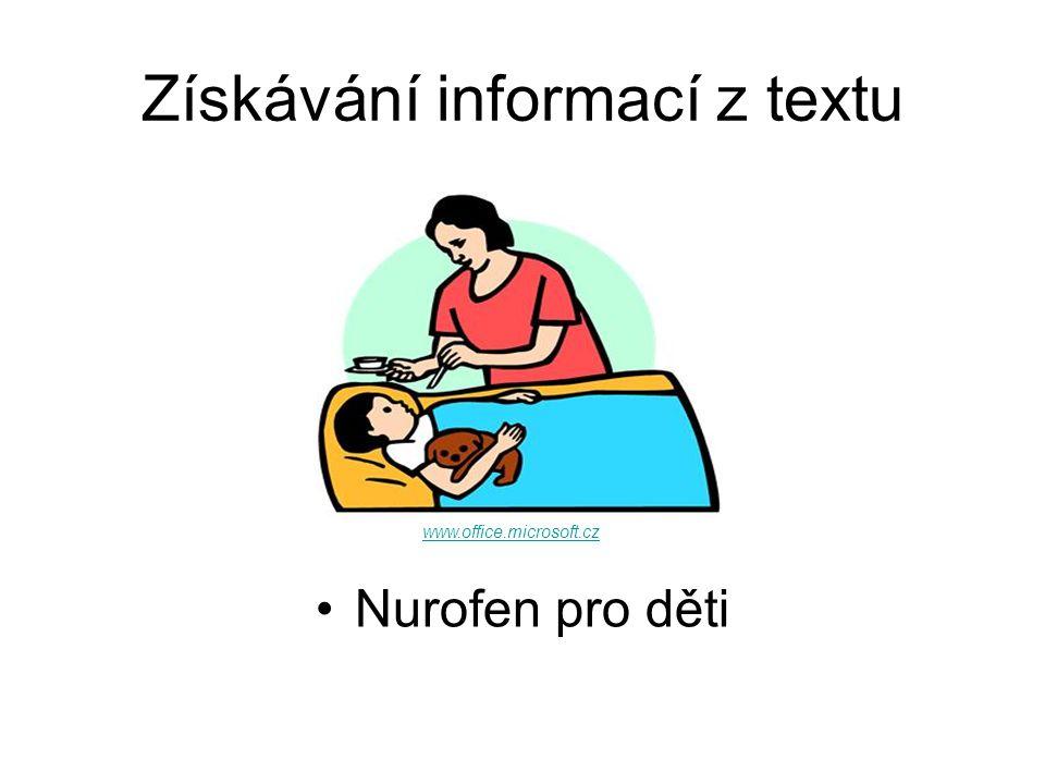 Získávání informací z textu Nurofen pro děti www.office.microsoft.cz