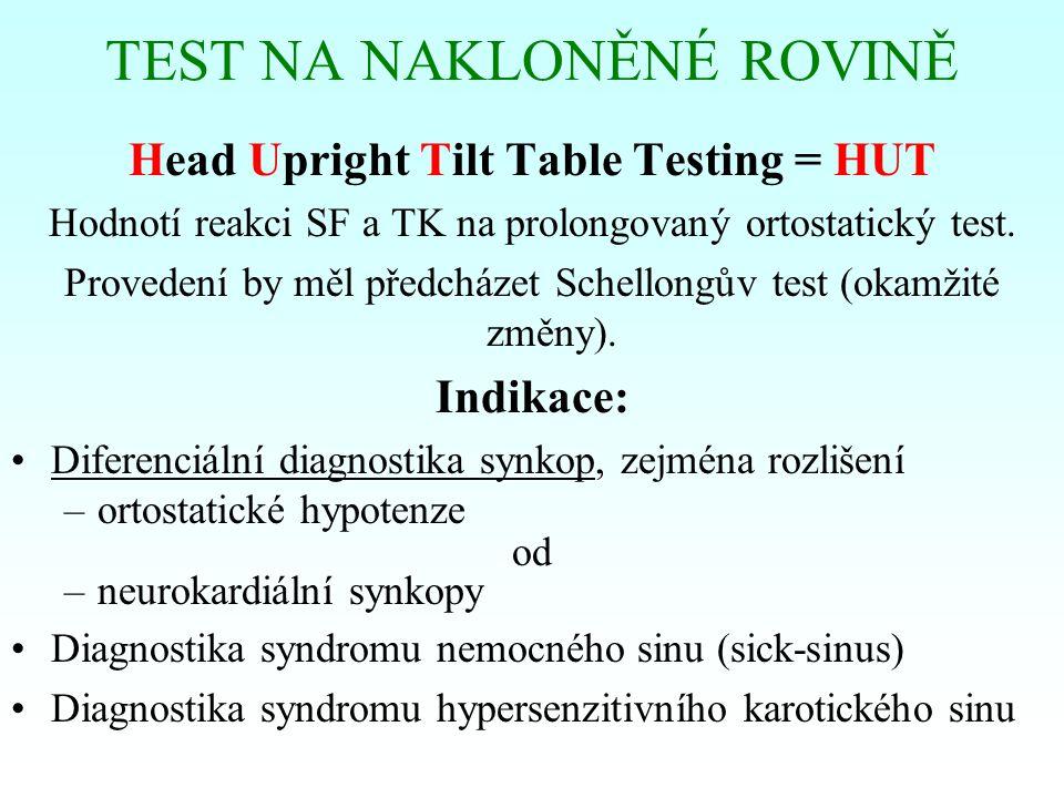 TEST NA NAKLONĚNÉ ROVINĚ Metody vyšetření liší se  sklonem polohovacího stolu (60 - 90 o )  dobou vyšetření (10 - 80 minut)  farmakologickou provokací (FP)  bez FP (pasivní tilt table test - TTT)  s FP (aktivní TTT)