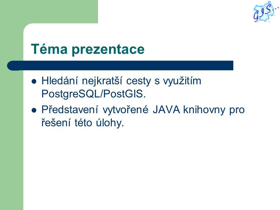 Téma prezentace Hledání nejkratší cesty s využitím PostgreSQL/PostGIS.