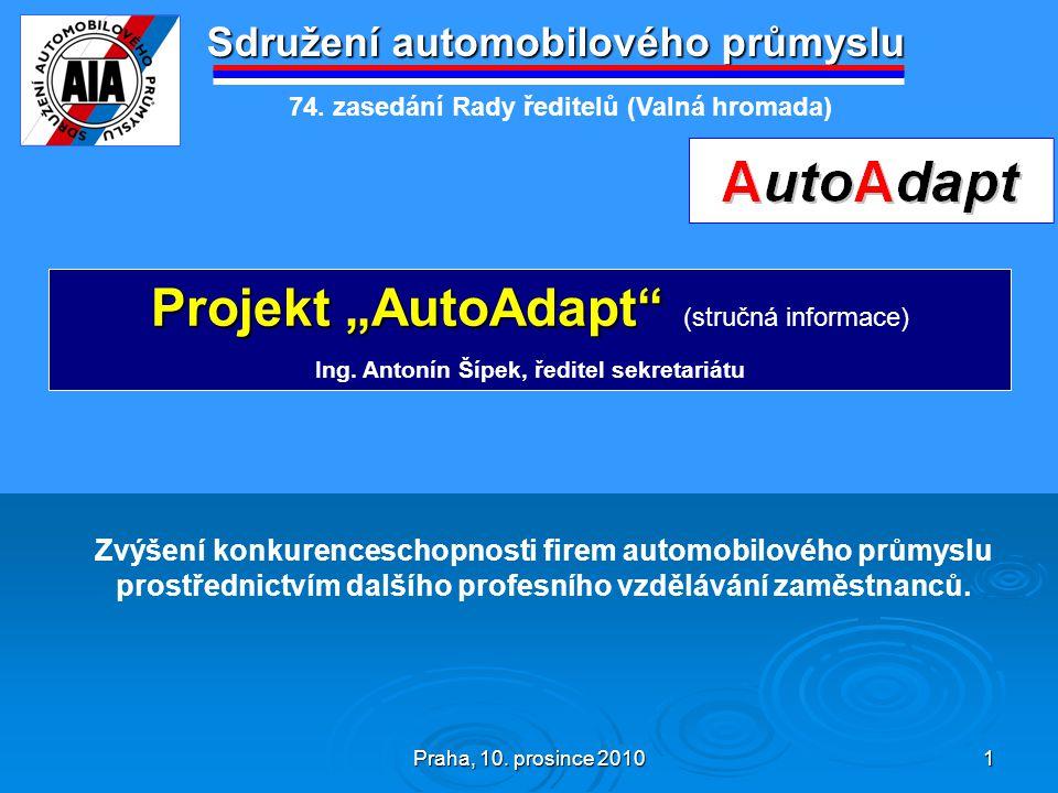 """Praha, 10. prosince 2010 1 Sdružení automobilového průmyslu Projekt """"AutoAdapt"""" Projekt """"AutoAdapt"""" (stručná informace) Ing. Antonín Šípek, ředitel se"""