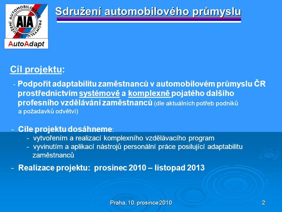 Praha, 10. prosince 2010 2 Sdružení automobilového průmyslu Cíl projektu: - Podpořit adaptabilitu zaměstnanců v automobilovém průmyslu ČR prostřednict