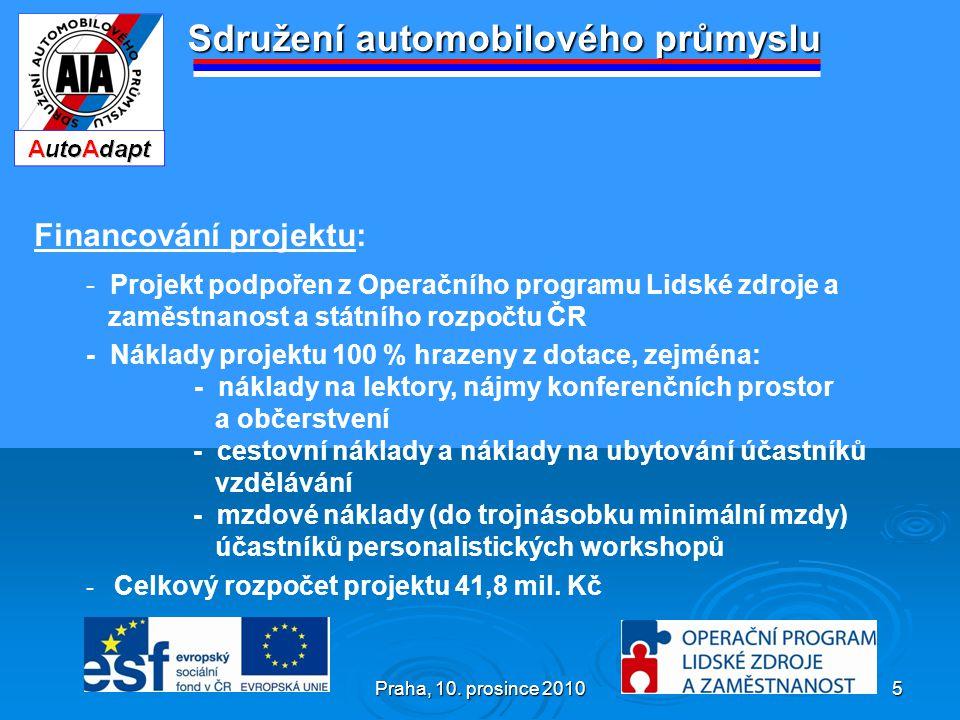 Praha, 10. prosince 2010 5 Sdružení automobilového průmyslu Financování projektu: - Projekt podpořen z Operačního programu Lidské zdroje a zaměstnanos