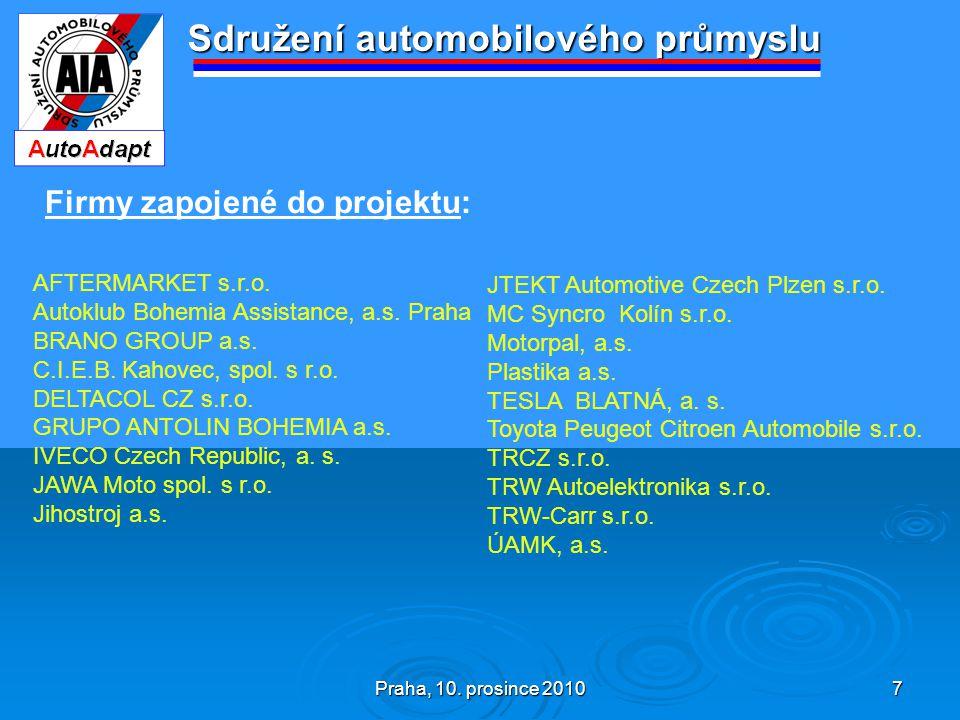 Praha, 10. prosince 2010 7 Sdružení automobilového průmyslu Firmy zapojené do projektu: AFTERMARKET s.r.o. Autoklub Bohemia Assistance, a.s. Praha BRA