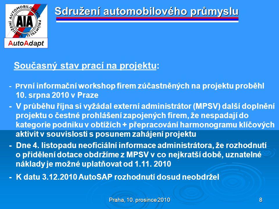 Praha, 10. prosince 2010 8 Sdružení automobilového průmyslu Současný stav prací na projektu: - P rvní informační workshop firem zúčastněných na projek