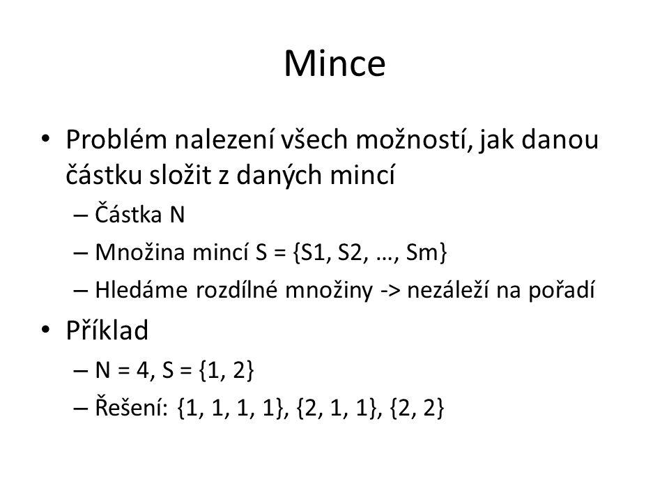 Mince Problém nalezení všech možností, jak danou částku složit z daných mincí – Částka N – Množina mincí S = {S1, S2, …, Sm} – Hledáme rozdílné množiny -> nezáleží na pořadí Příklad – N = 4, S = {1, 2} – Řešení: {1, 1, 1, 1}, {2, 1, 1}, {2, 2}
