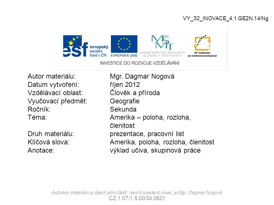 Autorem materiálu a všech jeho částí, není-li uvedeno jinak, je Mgr. Dagmar Nogová CZ.1.07/1.5.00/34.0501 Autor materiálu:Mgr. Dagmar Nogová Datum vyt