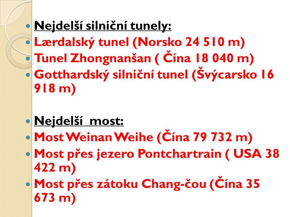 Nejdelší silniční tunely: Lærdalský tunel (Norsko 24 510 m) Tunel Zhongnanšan ( Čína 18 040 m) Gotthardský silniční tunel (Švýcarsko 16 918 m) Nejdelš