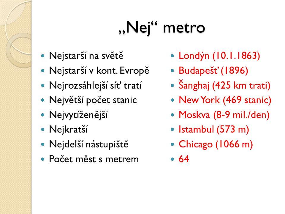 """""""Nej"""" metro Nejstarší na světě Nejstarší v kont. Evropě Nejrozsáhlejší síť tratí Největší počet stanic Nejvytíženější Nejkratší Nejdelší nástupiště Po"""
