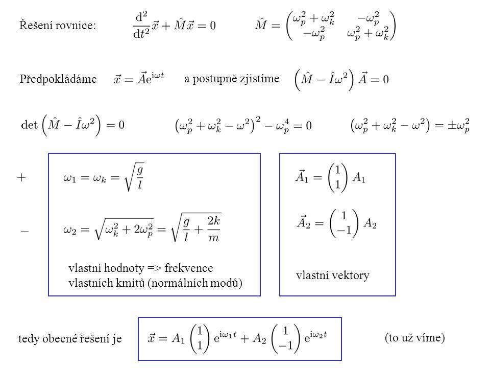 Řešení rovnice: Předpokládáme a postupně zjistíme vlastní hodnoty => frekvence vlastních kmitů (normálních modů) vlastní vektory tedy obecné řešení je