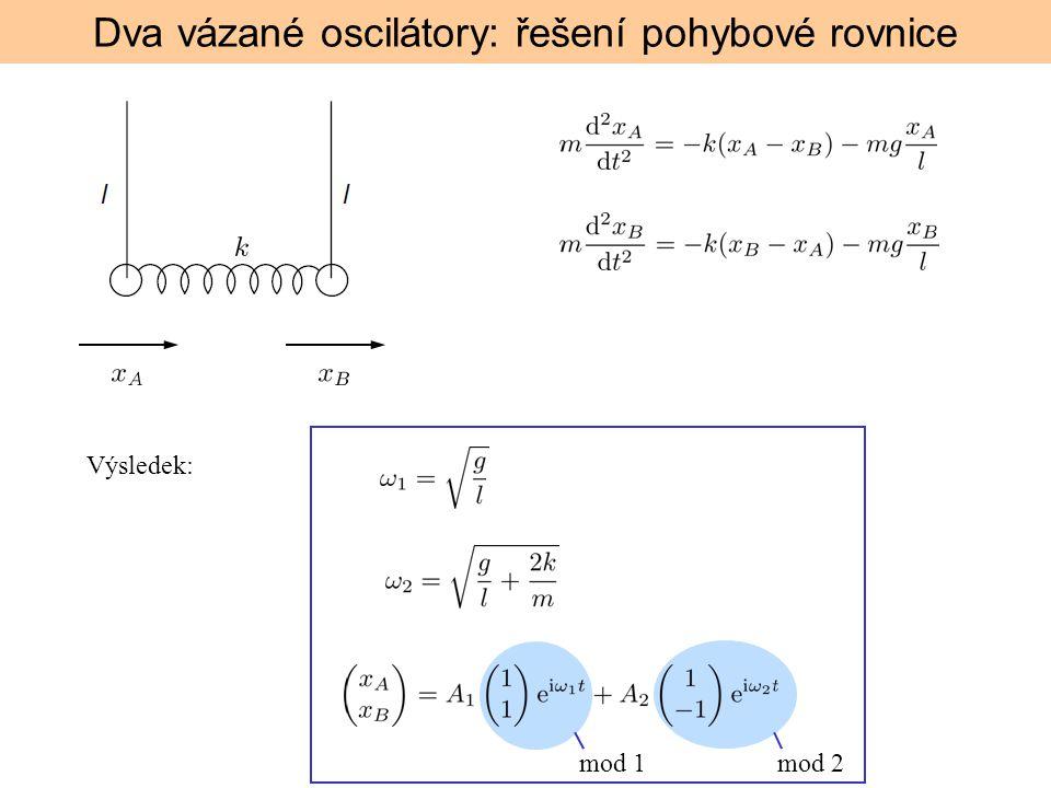 Dva vázané oscilátory: řešení pohybové rovnice mod 1mod 2 Výsledek: