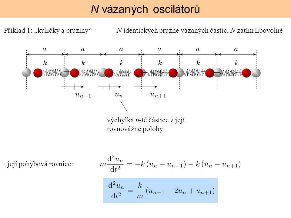 """N vázaných oscilátorů výchylka n-té částice z její rovnovážné polohy její pohybová rovnice: Příklad 1: """"kuličky a pružiny""""N identických pružně vázanýc"""