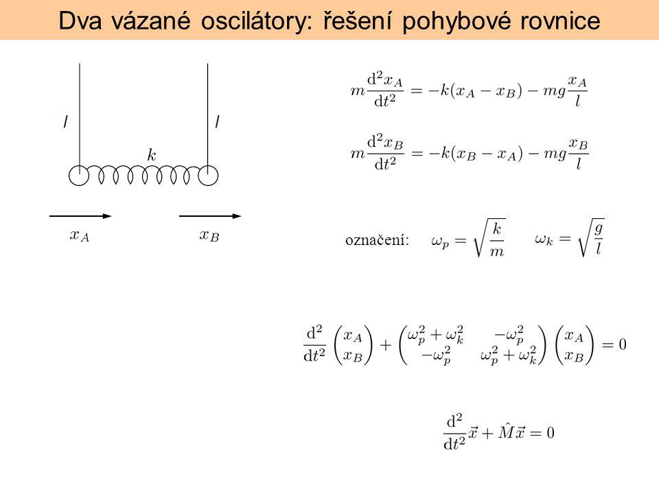 Řešení rovnice: Předpokládáme a postupně zjistíme vlastní hodnoty => frekvence vlastních kmitů (normálních modů) vlastní vektory tedy obecné řešení je (to už víme)